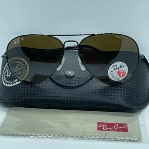 New Rayban Aviator Polarized 3025 Black/Bro…